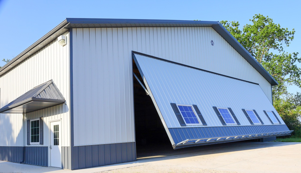 Machine shed with 50′ x 18′ PowerLift door.