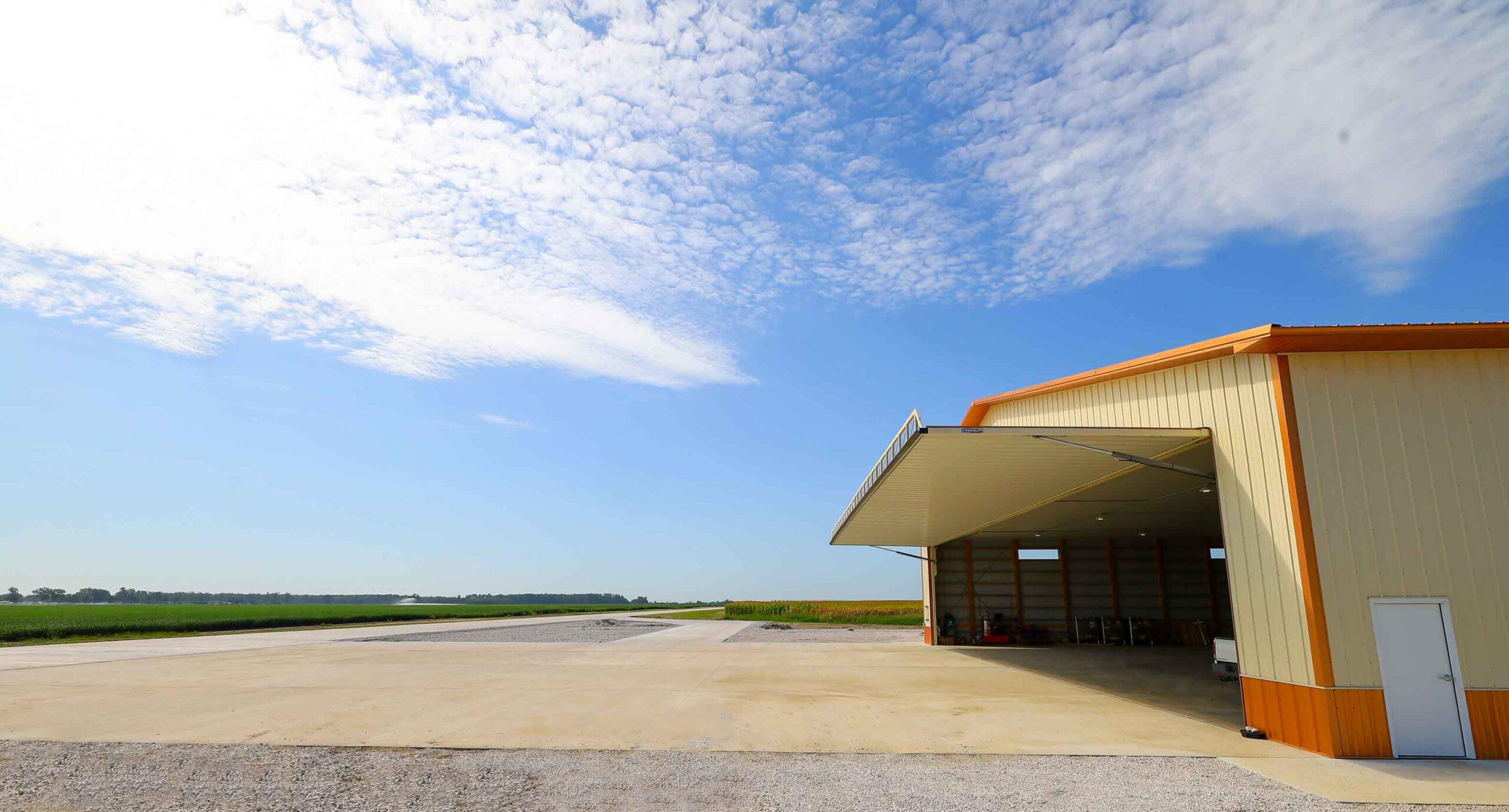 New airport, first hangar features large PowerLift door.